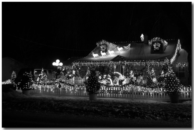 black and white christmas lights house
