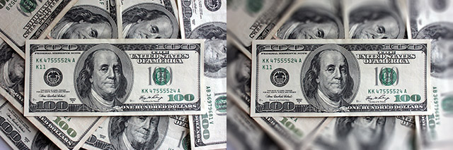 Tilt Shift Photography Money
