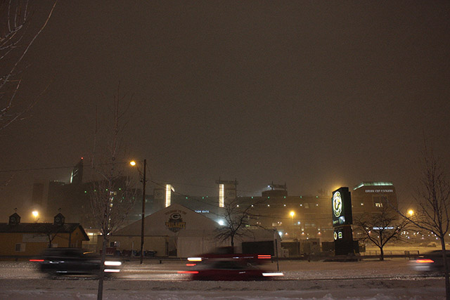 Lambeau Field Night Snowing Blizzard